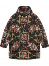 GUCCI Black padded cape coat with flowers and tassels