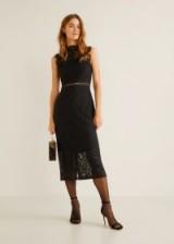 MANGO Guipure dress in black | party midi