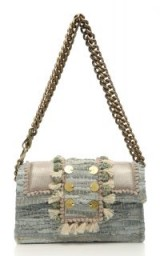 Click Product to Zoom Kooreloo Hollywood Babe Leather-Trimmed Woven Cotton Shoulder Bag | luxe chain strap bags