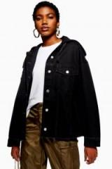 TOPSHOP Hooded Hybrid Denim Jacket in Black