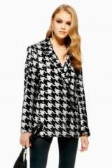 Topshop Houndstooth Sequin Jacket in Monochrome