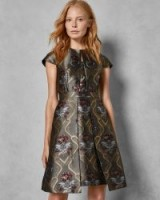 TED BAKER KKATY Ice Palace skater dress in charcoal / floral party dresses