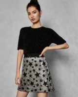 KHLOY 2-in-1 sequin star mini skirt / metallic A-line