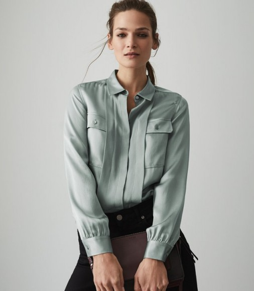 REISS INDRA SILK TWIN POCKET BLOUSE PALE AQUA ~ luxe style shirt