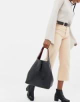 INYATI Thea black moc croc oversized tote bag | crocodile embossed handbag