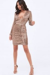 LAVISH ALICE iridescent sequin mini dress in gold | plunge front party frock