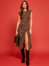 Reformation Izzy Dress in Scar   leopard prints   winter colours