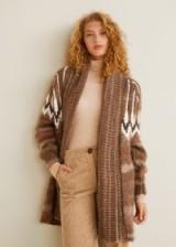 MANGO Jacquard wool cardigan in brown