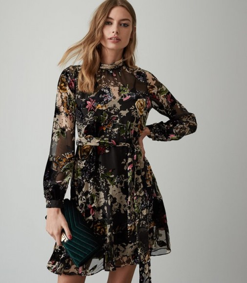 REISS JASIA FLORAL BURNOUT SHIFT DRESS ~ feminine and floaty