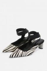 Topshop JAX Pointed Zebra Print Diamante Heel Shoes in Monochrome