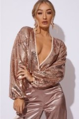 IN THE STYLE JAYNAH GOLD SEQUIN BALLOON SLEEVE BODYSUIT – instant party glamour