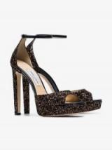 Jimmy Choo Black Pattie 130 Glitter Platform Sandals / glittering party shoes