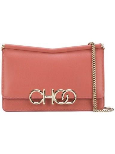 JIMMY CHOO Sidney/M logo shoulder bag in rosewood leather