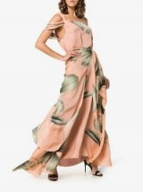 Johanna Ortiz St Barthelemy Pink and Green One Shoulder Tie Waist Dress