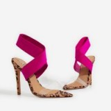 EGO Joma Perspex Detail Heel In Tan Leopard Print Faux Suede – pink ankle strap sandals