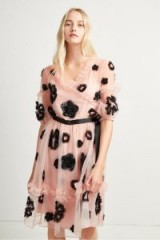 FRENCH CONNECTION JOSEPHINE EMBELLISHED FIT AND FLARE DRESS in Ballet Blush/Black | party princess