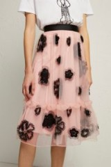 FRENCH CONNECTION JOSEPHINE EMBELLISHED FULL SKIRT in Ballet Blush/Black | pink party skirts