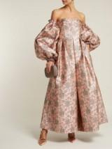 ERDEM Kaelyn balloon-sleeve pink floral-brocade gown – statement occasion wear