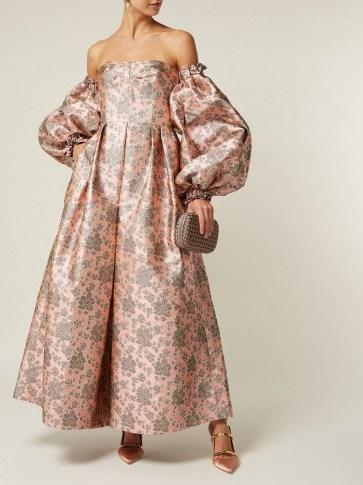 ERDEM Kaelyn balloon-sleeve pink floral-brocade gown – statement occasion  wear   SnapFashionista.com