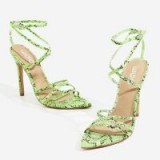 EGO Kaia Pointed Barely There Heel In Neon Green Snake Print Faux Leather – strappy party heels