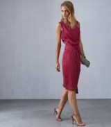 REISS KARINA CROSS BACK COCKTAIL DRESS RASPBERRY ~ draped party wear