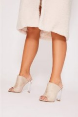 IN THE STYLE KATHRYN STONE FAUX SUEDE CLEAR HEELED MULES – luxe style party heels
