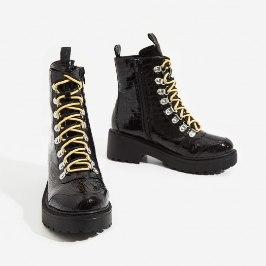 EGO Kris Chunky Sole Lace Up Ankle Biker Boot In Black Croc Print Patent – high shine crocodile embossed combat boots