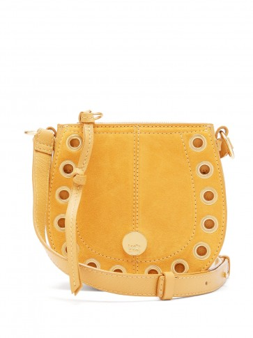 SEE BY CHLOÉ Kriss mini leather and suede cross-body bag in mustard ~ yellow 70s vintage style crossbody