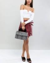 Kurt Geiger Kensington grey plaid tweed shoulder bag with faux fur grab handle | mixed houndstooth handbag