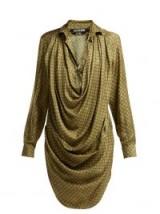 JACQUEMUS La Robe Saabi botanical-print green satin shirtdress | luxe draped shirt dress