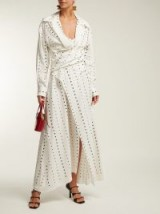 JACQUEMUS La Tunique Badii polka-dot fil-coupé white cotton dress / long wrap dresses