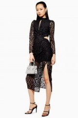 TOPSHOP Lace Cut Out Midi Bodycon Dress in black – semi sheer party dresses