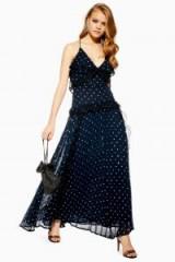 TOPSHOP Lace Metallic Thread Pleat Maxi Dress in navy blue