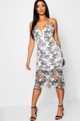 boohoo Lace Midi Flute Hem Dress in White   strappy plunge front party dresses