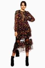 Topshop Lace Trim Midaxi Dress in Purple | semi sheer floral party dresses