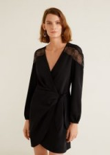 MANGO Lace v-neckline dress in black – SUGAR | LBD