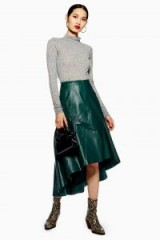 Topshop Green Leather Asymmetric Midi Skirt