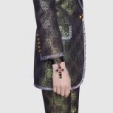 GUCCI Black leather bracelet with cross pendant ~ statement cuff