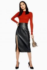 Topshop Leather Look Pencil Skirt in Black | high front slit