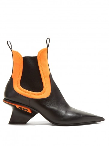 PRADA Black leather and orange neoprene insert point-toe chelsea boots – contemporary style booties