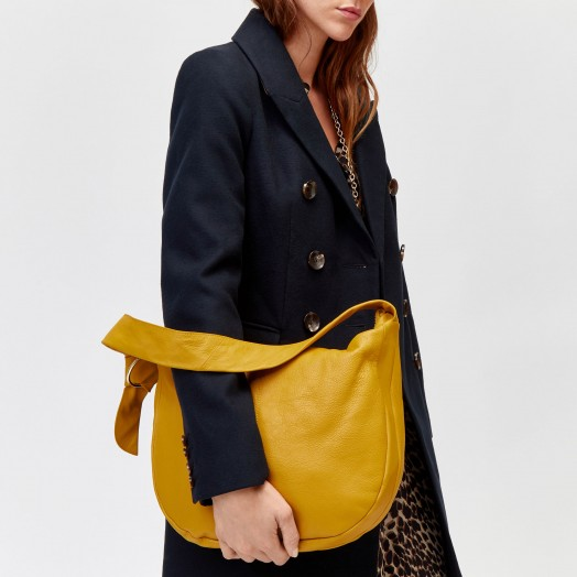 WAREHOUSE MUSTARD LEATHER SLOUCHY SHOULDER BAG | yellow handbags