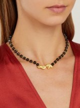 ANISSA KERMICHE Les Mains gold-plated and black onyx necklace