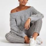 River Island Light grey knit bardot jumper | off the shoulder sweater