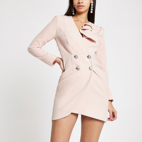 RIVER ISLAND Light pink bodycon ruffle tux mini dress – glamorous jacket dresses