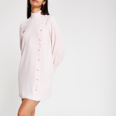 RIVER ISLAND Light pink button front swing dress