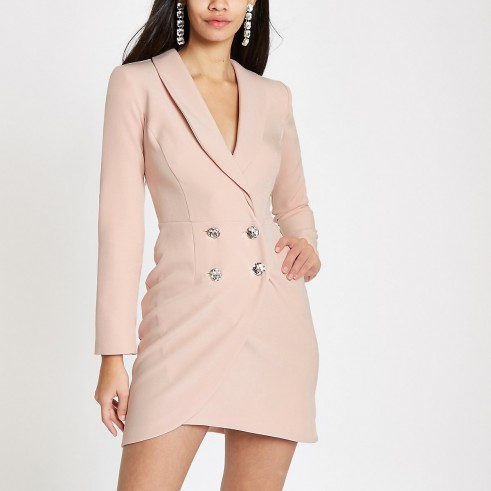 RIVER ISLAND Light pink diamante bodycon tux dress – luxe jacket dresses