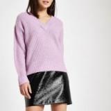 River Island Light purple Luxe ribbed knit V neck jumper