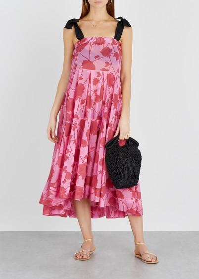 LILA.EUGÉNIE Pink floral-print voile dress / feminine sundress