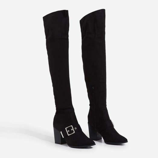 EGO Lily Buckle Detail Over The Knee Long Boot In Black Faux Suede – buckled long boots