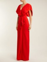 ROLAND MOURET Lorre draped red crepe gown